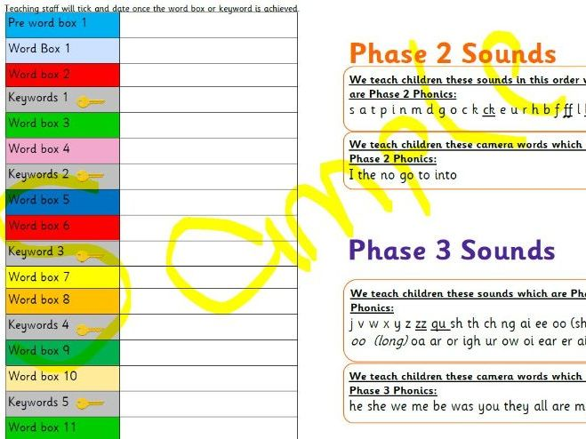 EYFS Systematic Phonic Reading Programme and Tracker