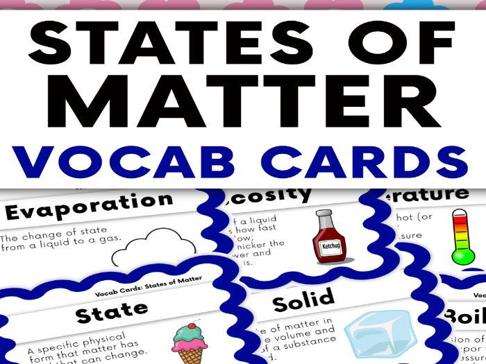 States of Matter Vocabulary Cards