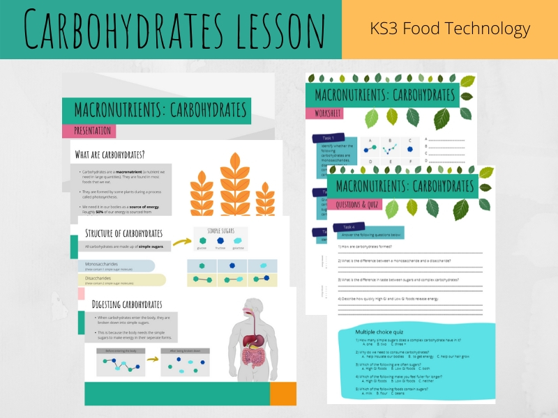 Carbohydrates lesson (KS3 Food Technology)