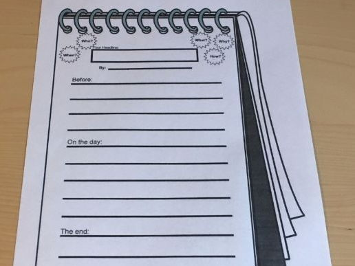 Report Planning Writing Frame Notebook Style