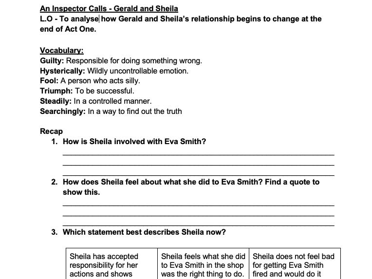 An Inspector Calls lesson workbook