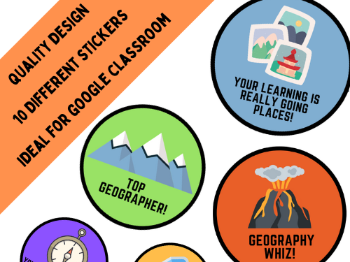 Geography Digital Stickers for Remote Online Learning  - OneNote / Google Classroom etc.