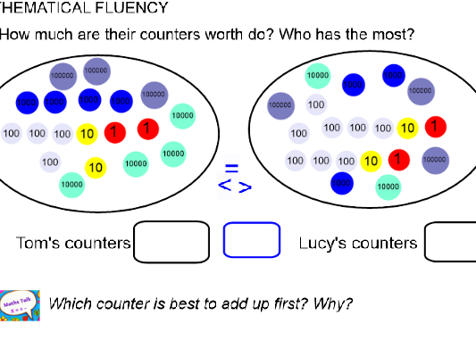 Year 5 block 1 place value unit of work smart board file and ppt version following order of WRMH