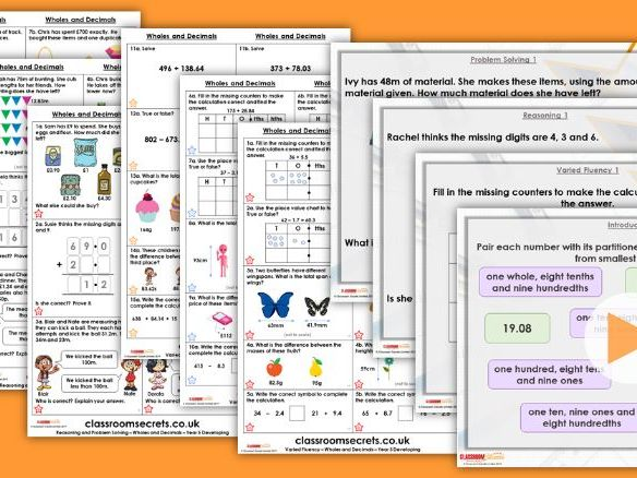 Year 5 Adding and Subtracting Wholes and Decimals Summer Block 1 Step 9 Maths Lesson Pack