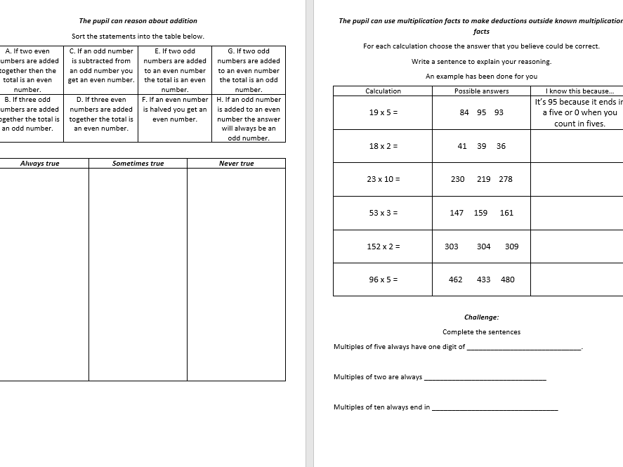 Year two greater depth assessment framework maths pack