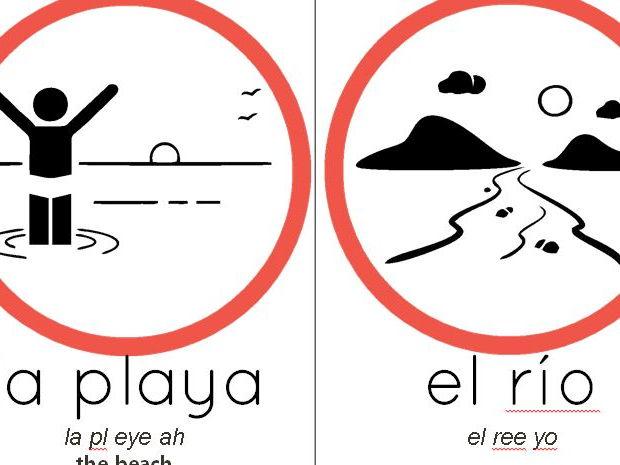 Large Spanish Flash cards for ks2/3 RED nouns la cuidad