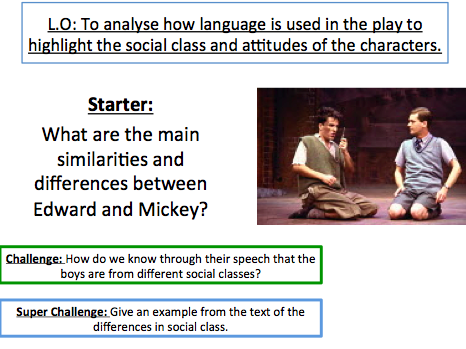 Blood Brothers - To analyse how language is used to highlight the social class and attitudes.