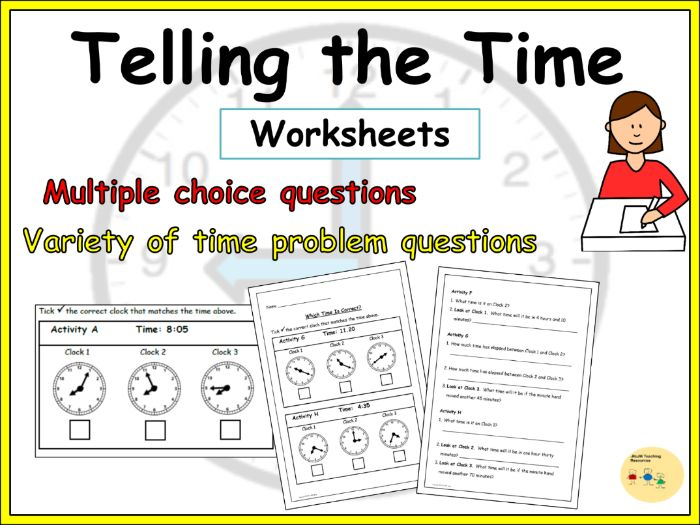 Telling the Time Worksheets -  Multiple choice questions, Elapsed time, Time word problems