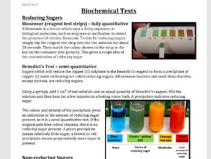 Biochemical Tests handout