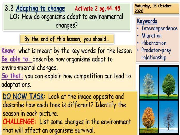 Adapting to change KS3 Science