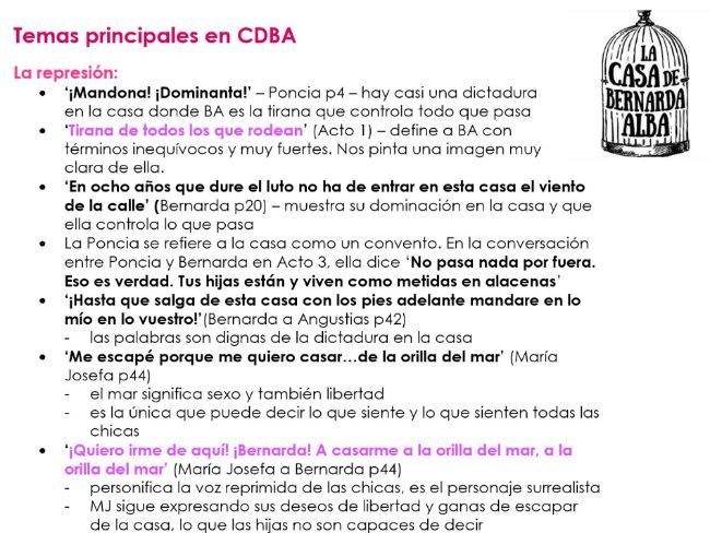 TEMAS PRINCIPALES en 'La Casa de Bernarda Alba' notes for A2 Spanish
