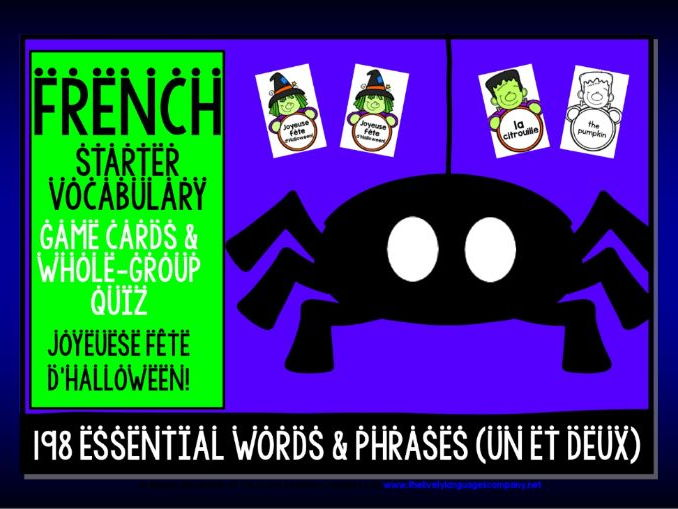 FRENCH VOCABULARY HALLOWEEN GAMES & QUIZ 198 WORDS & PHRASES