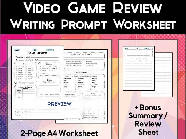 Video Game Review Worksheet