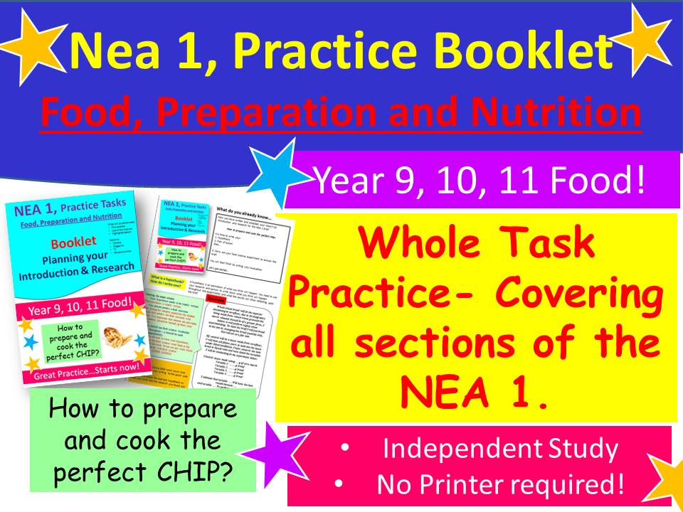 NEA 1, Food 'How to write...CHIPS' Practice Booklet for Students