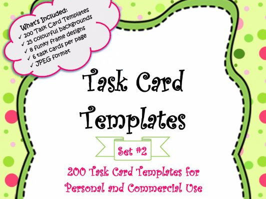 Task Card Templates - 200 Colourful and Unique Task Card Templates for PERSONAL AND COMMERCIAL USE