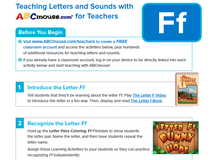Teaching the Letter Ff with ABCmouse