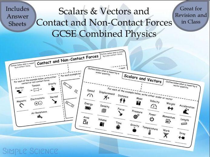 GCSE Physics - Scalars/Vectors and Contact/Non-Contact Forces Worksheets