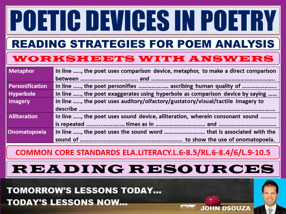 POETIC DEVICES IN POETRY WORKSHEETS WITH ANSWERS