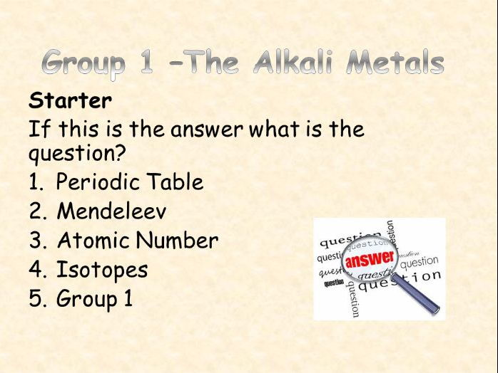 AQA Chemistry Topic 2: Group 1 - the Alkali Metals