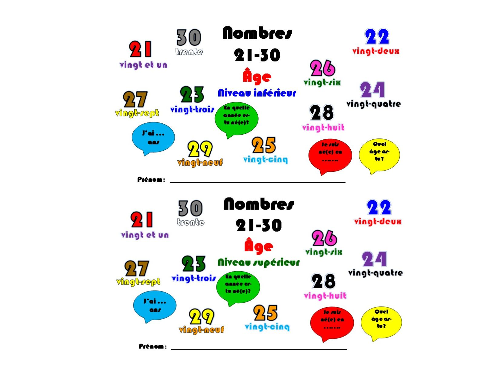 Primary French: Numbers 21-30, Age