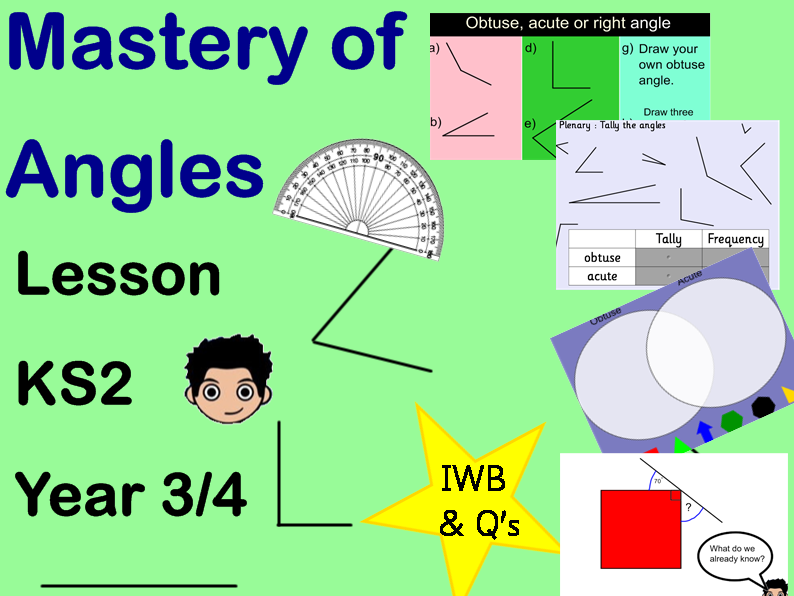 Angles lesson Year 3/4 obtuse acute mastery depth Q's