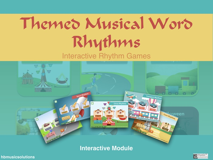 Musical Themed Word Rhythms - Interactive Music Game including Halloween section