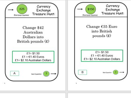 GCSE Maths/Functional Skills- Currency Exchange Treasure Hunt