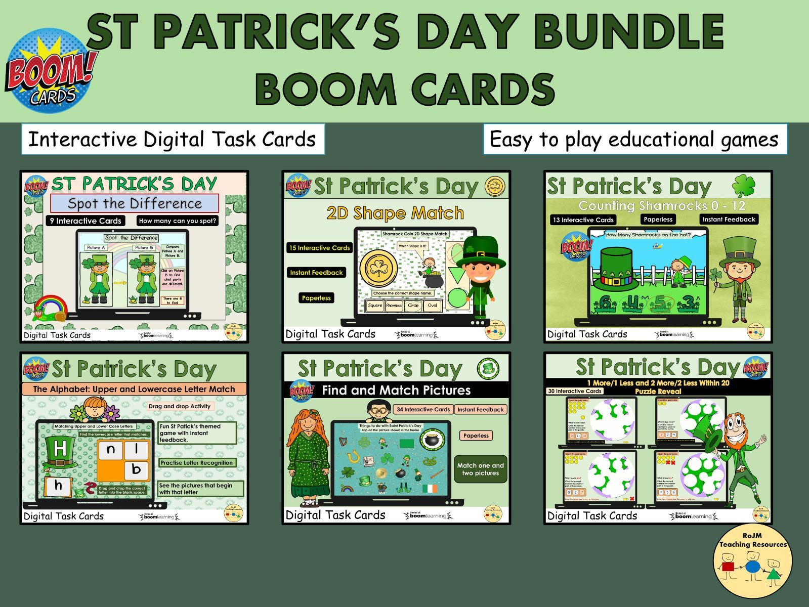 St Patricks Day Bundle Maths Literacy Spot the Difference  Puzzles Shapes Boom Cards™ Distance Home Learning