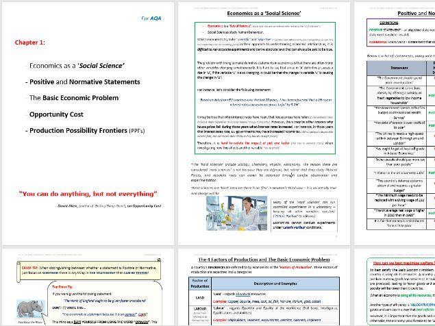 AQA Rev. Notes: PPFs, Basic Economic Problem, Opportunity Cost, Positive / Normative Statements
