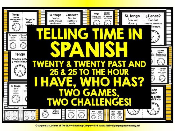 SPANISH TELLING TIME GAMES 3