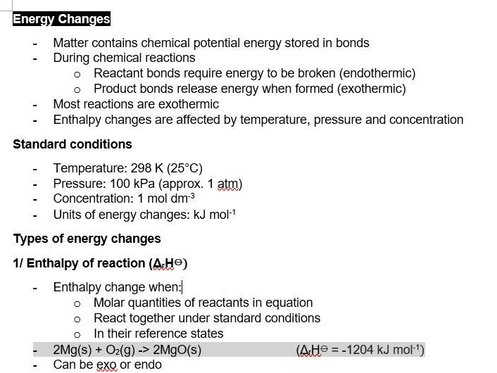 Energy Changes | Pre-U Certificate in Chemistry 9791
