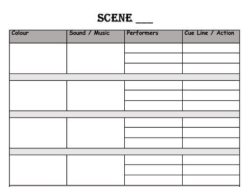 Music / Lighting Cue Sheet Template