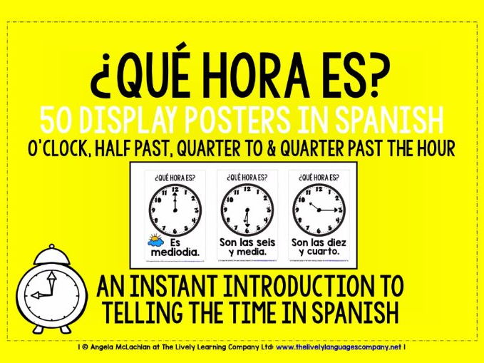 SPANISH TELLING THE TIME - 50 POSTERS / FLASHCARDS (1)