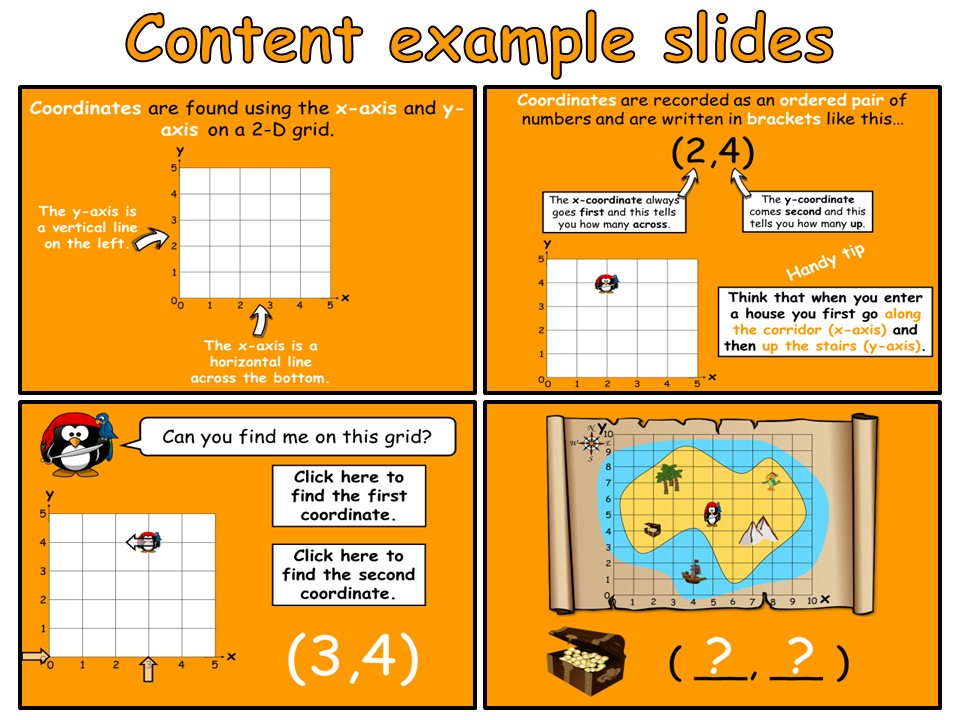 Coordinates - Year 4 - Animated PowerPoint presentation and worksheets