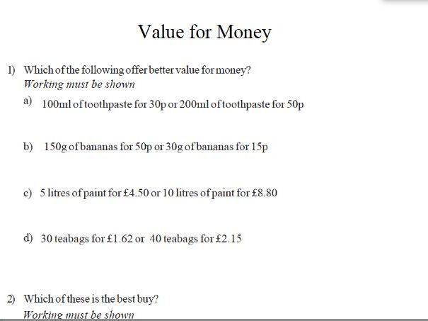 GCSE maths – value for money worksheet