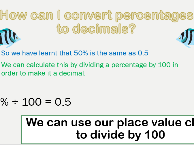 Convert Percentages to Decimals PowerPoint and Worksheets Pack