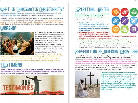 Christianity: Charismatic Christianity: Differentiated Information and Activity Sheets