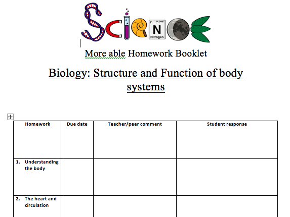 KS3 Homework booklet for Y7 body systems (more able/G&T) ACTIVATE