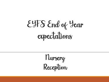 EYFS Nursery/Reception goals