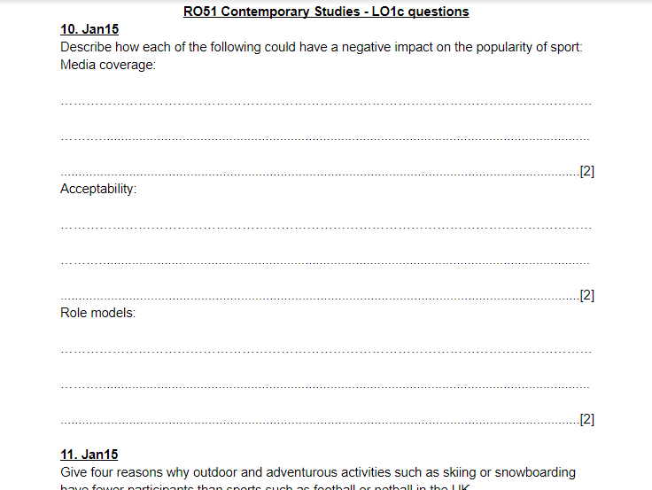 LO1c questions and answers - OCR Cambridge Nationals Sports Studies RO51