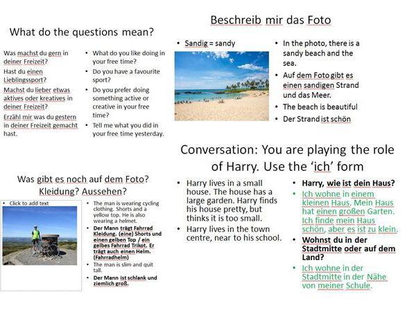 German GCSE photo card speaking practice