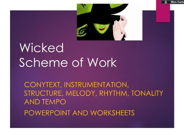 Wicked SOW Edexcel GCSE resources, worksheets and powerpoint