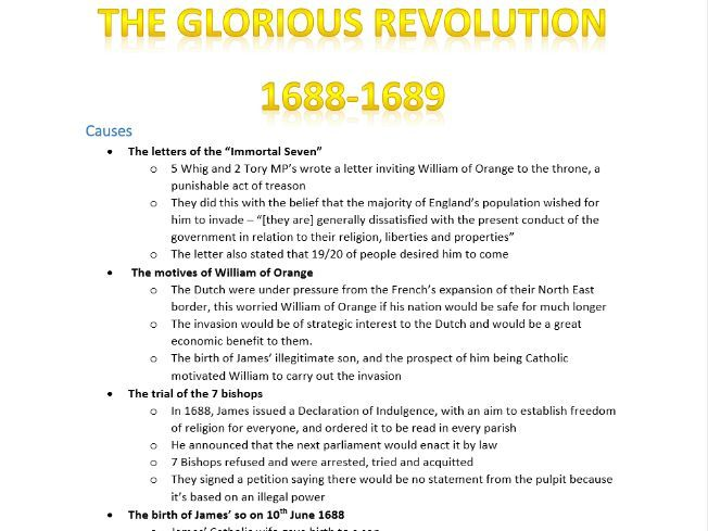 The Glorious Revolution - OVERVIEW