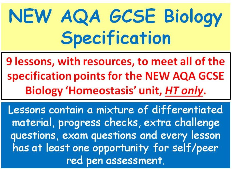 NEW AQA GCSE Biology - 'Homeostasis' lessons - HT only