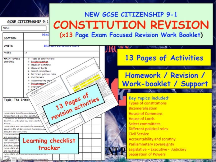 GCSE revision  for The British Constitution and politics  UNIT NEW GCSE CITIZENSHIP 9-1