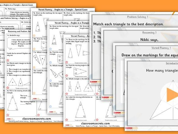 Year 6 Angles in Triangles 2 - Special Cases Summer Block 1 Lesson Pack