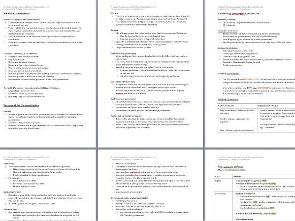 FULL PEARSON A LEVEL GOVERNMENT AND POLITICS NOTES FOR COMPONENT 2