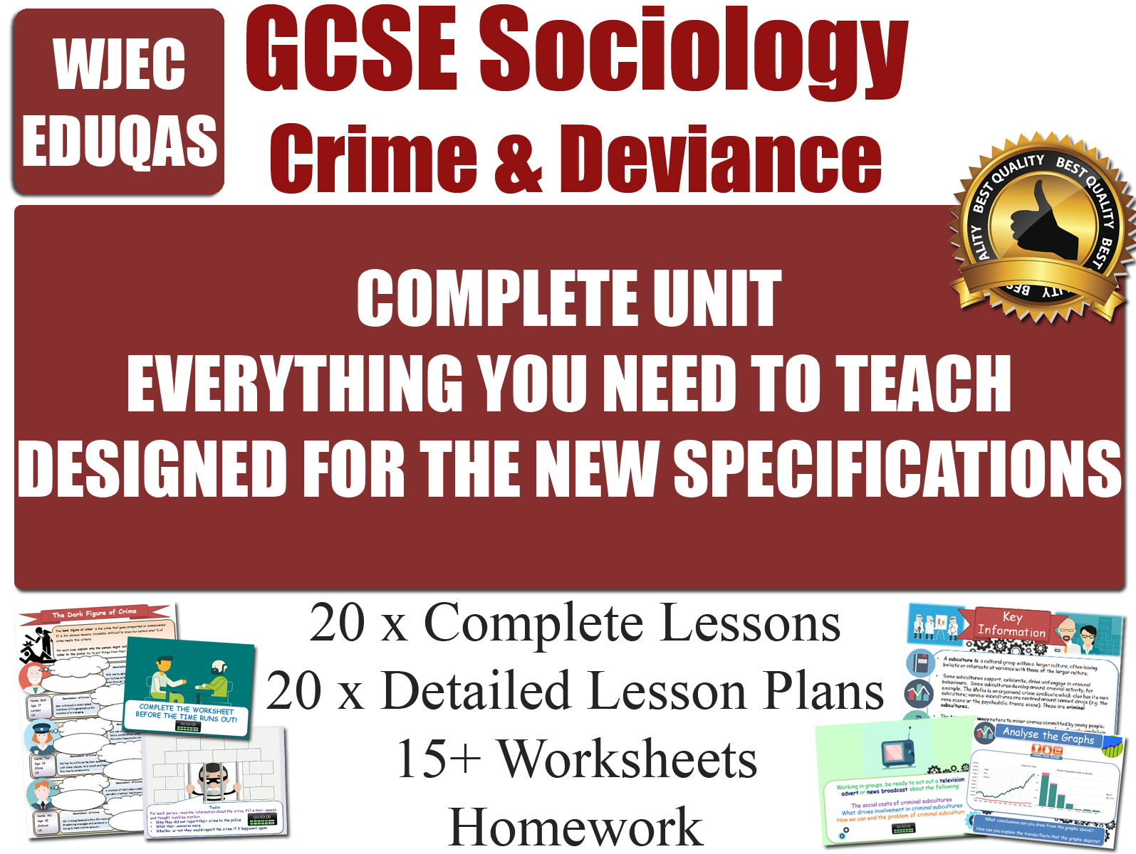Crime & Deviance (20 Lessons) WJEC / EDUQAS [ GCSE Sociology ]