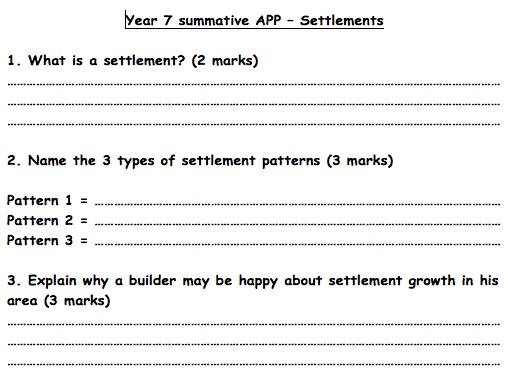 KS3 Settlements - Assessment