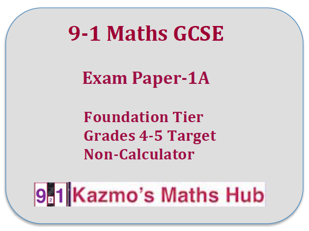 9-1 Maths GCSE  Exam Paper -1A
